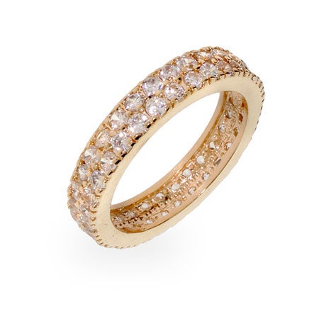 Gold Band with Double Row Cubic Zirconias | Eve's Addiction®