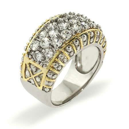 Designer Inspired Sparkling Pave Band Sterling Silver Ring