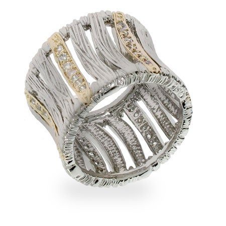 Designer Inspired Precious Safari Silver & Gold CZ Ring | Eve's Addiction®