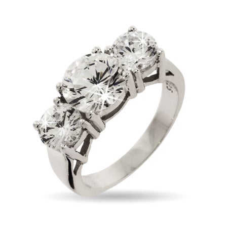 Celebrity Inspired CZ 3 Stone Engagement Ring | Eve's Addiction®