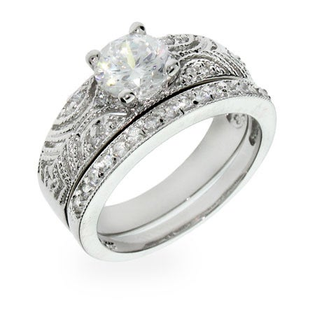 Victorian Antique CZ Deco Silver Ring Set | Eve's Addiction®