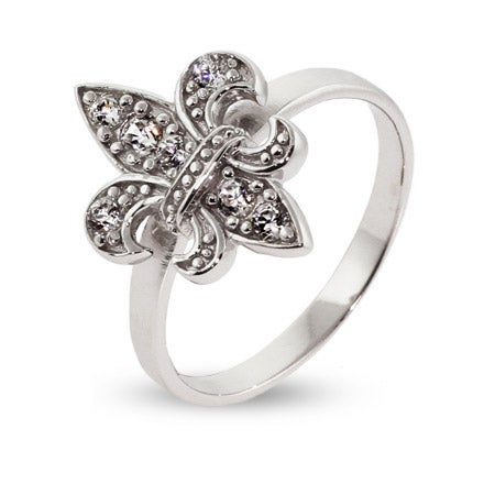 CZ Fleur De Lis Ring in Sterling Silver | Eve's Addiction®