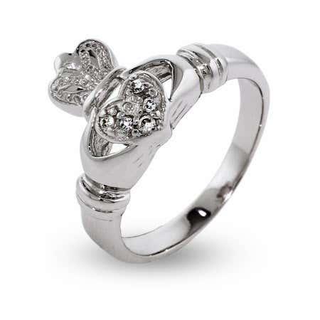 Cubic Zirconia Sterling Silver Irish Claddagh Ring