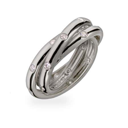 Designer Style Twinkling Triple Roll Ring   Eve's Addiction®