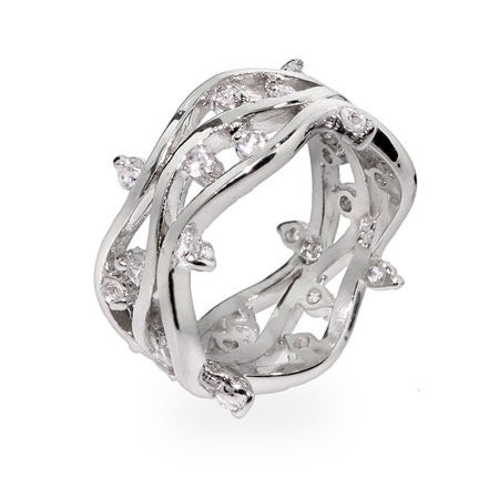 Waves of CZ Raindrops Sterling Silver Ring | Eve's Addiction®