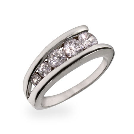 Sterling Silver CZ Ladder Style Journey Ring | Eve's Addiction®