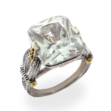Emerald Cut Diamond CZ Intricate Design Ring | Eve's Addiction®