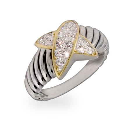 Designer Inspired Pave CZ X Sterling Silver Cable Ring | Eve's Addiction®