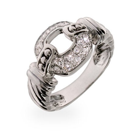 Pave CZ Buckle Style Sterling Silver Ring | Eve's Addiction®