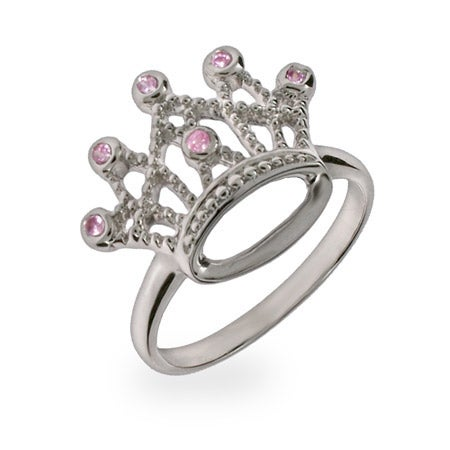 Sterling Silver Pink CZ Crown Jewels Ring | Eve's Addiction®