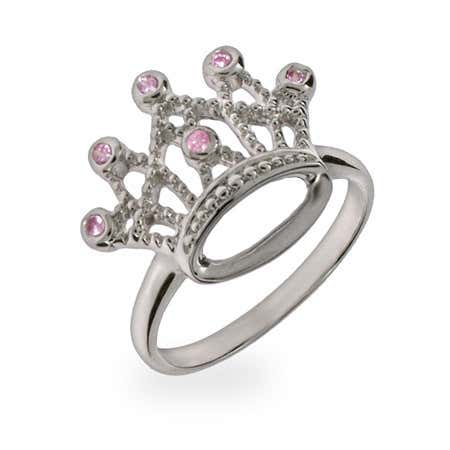 Sterling Silver Pink CZ Crown Jewels Ring