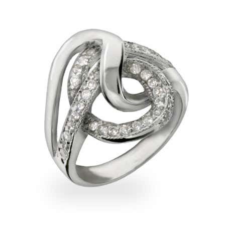 Modern Style CZ Swirl Sterling Silver Ring | Eve's Addiction®
