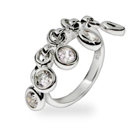 Bezel Set CZ Dangling Charm Ring | Eve's Addiction®