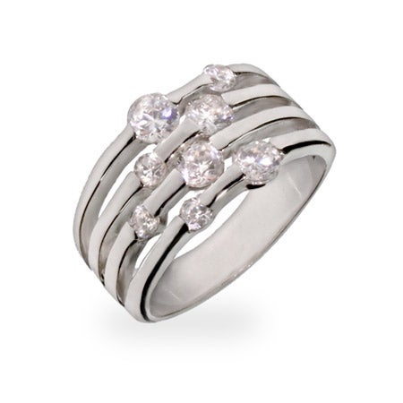 Four Row Scattered CZ Sterling Silver Ring | Eve's Addiction®