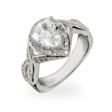 Celebrity Inspired Pear Cut CZ Engagement Ring in Sterling Silver | Eve's Addiction®