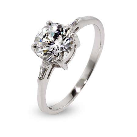 Round CZ Engagement Ring with Trapezoid Side CZs