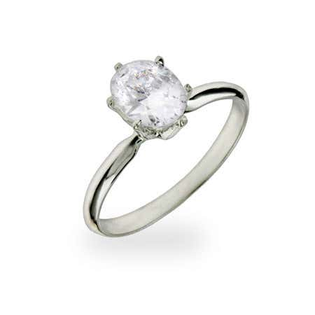 Oval Cut Solitaire CZ Sterling Silver Ring