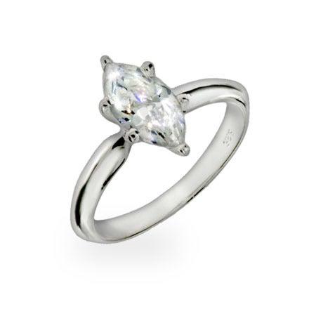 Diamond Marquis Cut Solitaire CZ Ring | Eve's Addiction
