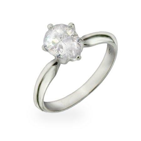 1 Carat Pear Cut Solitaire CZ Ring in Sterling Silver | Eve's Addiction®