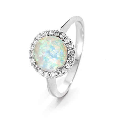 Round Opal with CZ Halo Ring