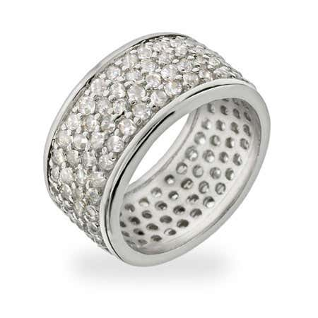 4 Row Pave CZ Sterling Silver Wedding Ring