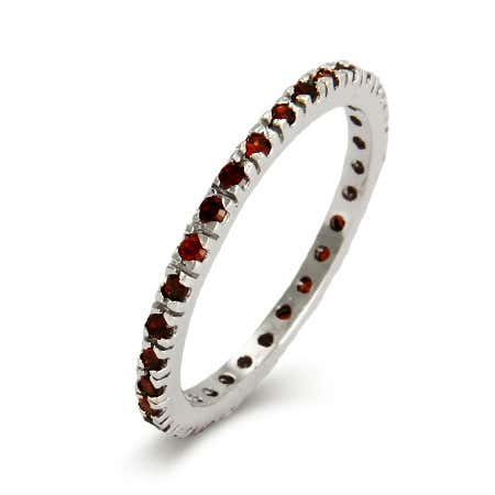 display slide 1 of 2 - Garnet CZ Sterling Silver Stackable Eternity Band - selected slide