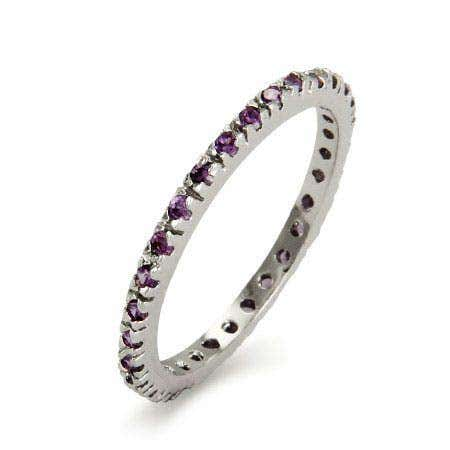 display slide 1 of 2 - Amethyst February Birthstone CZ Sterling Silver Band - selected slide