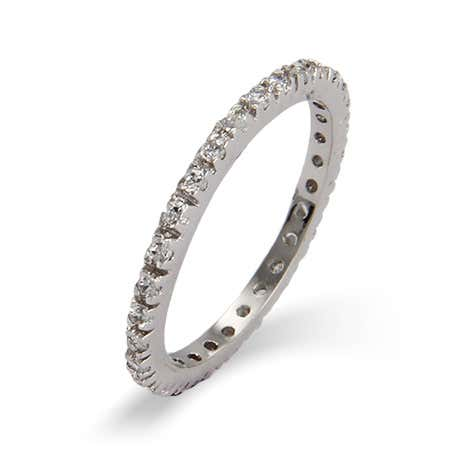 Diamond CZ Stackable Eternity Band in Sterling Silver
