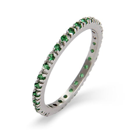 Emerald CZ Sterling Silver Stackable Eternity Band | Eve's Addiction®