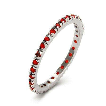 display slide 1 of 2 - Silver Ruby CZ Stackable Eternity Band - selected slide
