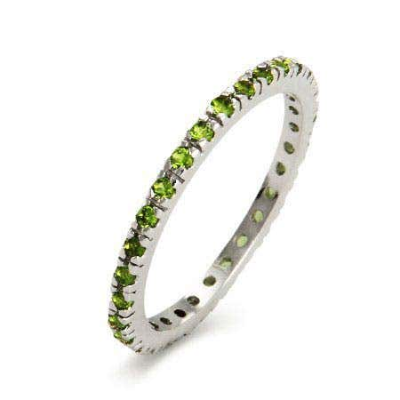 August Birthstone CZ Sterling Silver Stackable Band