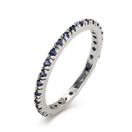 Sapphire CZ Thin Stackable Band in Sterling Silver | Eve's Addiction®