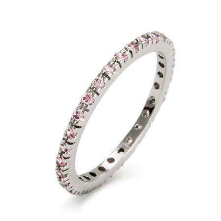 Pink CZ Sterling Silver Stackable Eternity Band | Eve's Addiction®