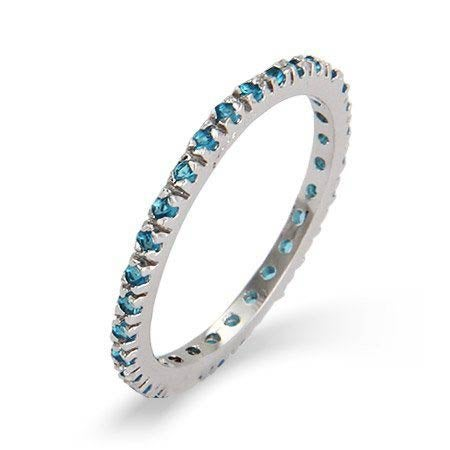 Blue Zircon CZ Stackable Eternity Band in Sterling Silver | Eve's Addiction®