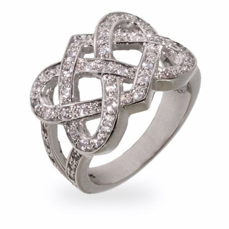 Sparkling CZ Celtic Knot Sterling Silver Ring | Eve's Addiction®