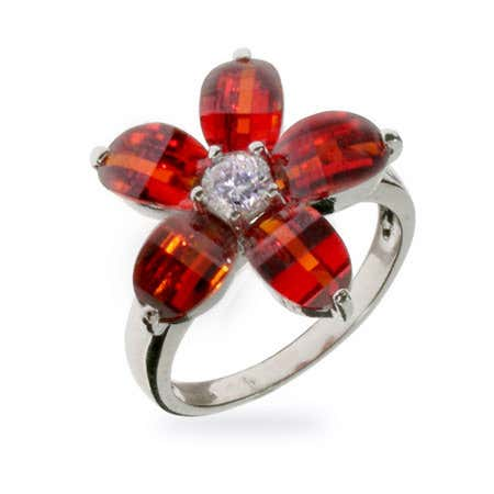 Red CZ Flower Sterling Silver Ring | Eve's Addiction