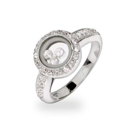CZ Floating Halo Diamond Engagement Ring