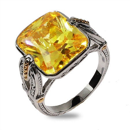 Emerald Cut Canary CZ Sterling Silver Ring | Eve's Addiction®