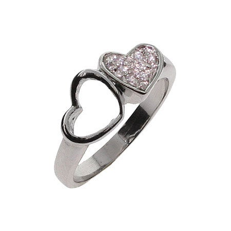 Joined Hearts CZ Sterling Silver Ring | Eve's Addiction®