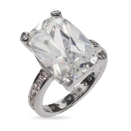 Celebrity Inspired Sterling Silver CZ Engagement Ring | Eve's Addiction®
