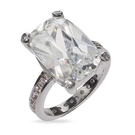 Celebrity Inspired Sterling Silver CZ Engagement Ring