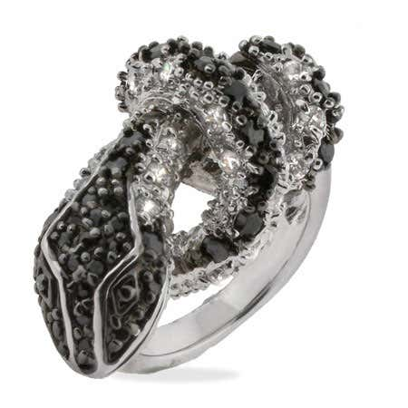 Sparkling Cubic Zirconia Black Snake Ring | Eve's Addiction®