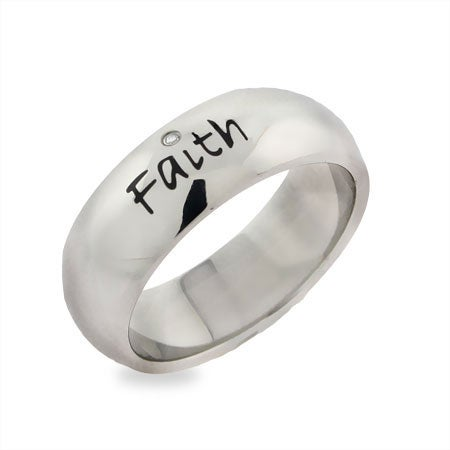 Engravable Faith Friendship Ring in Stainless Steel | Eve's Addiction