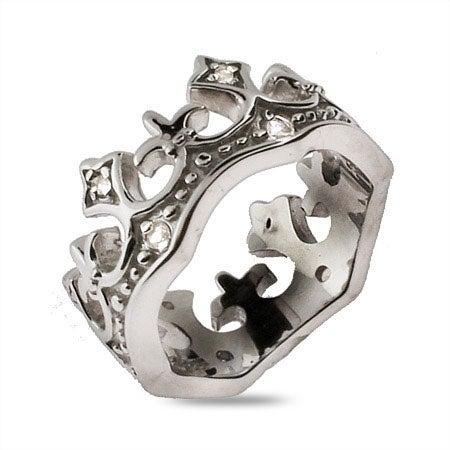 CZ Fleur de Lis Tiara Sterling Silver Ring   Eve's Addiction