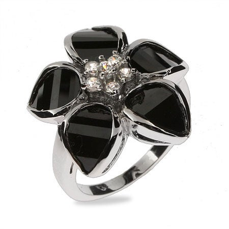 Black Onyx CZ Flower Sterling Silver Ring | Eve's Addiction®