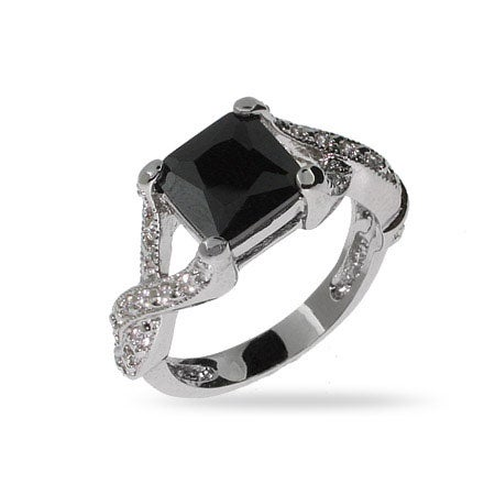 Princess Cut Onyx CZ Intricate Style Ring in Sterling Silver | Eve's Addiction®
