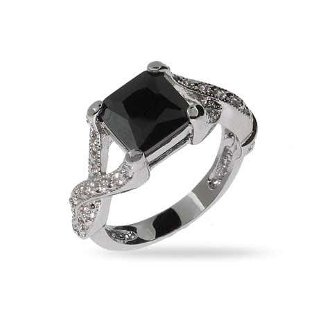 Princess Cut Onyx CZ Intricate Style Ring in Sterling Silver