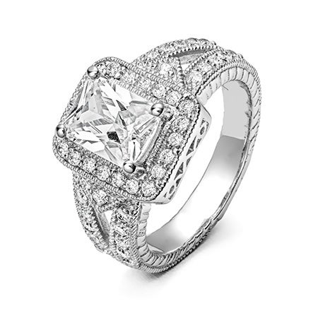 Celebrity Style Emerald Cut Vintage Engagement Ring | Eve's Addiction®