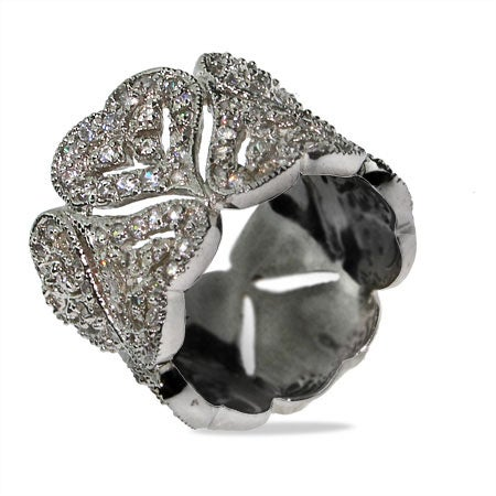 Dazzling Pave CZ Vintage Hearts Sterling Silver Cocktail Ring | Eve's Addiction®