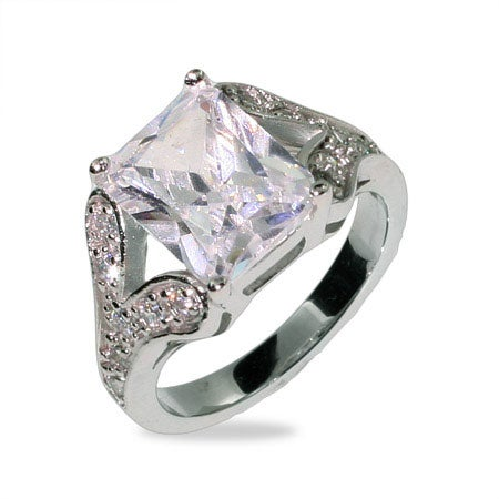 4 Carat Emerald Cut CZ Engagement Ring in Sterling Silver | Eve's Addiction®